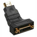 HDMI-DVI adaptor, 19pin M to 24+1 F, with 180° angle, golden contacts